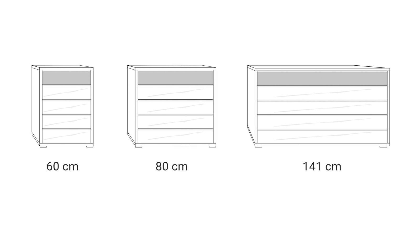 Grafik zu den Breiten der Schubladen-Kommode Briston