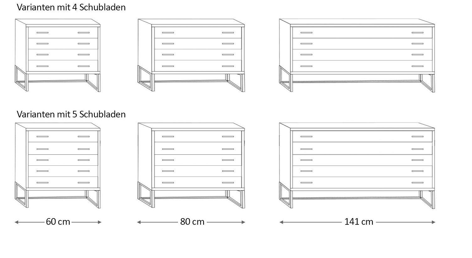 Schubladen-Kommode Chipperfield in verschiedenen Breiten