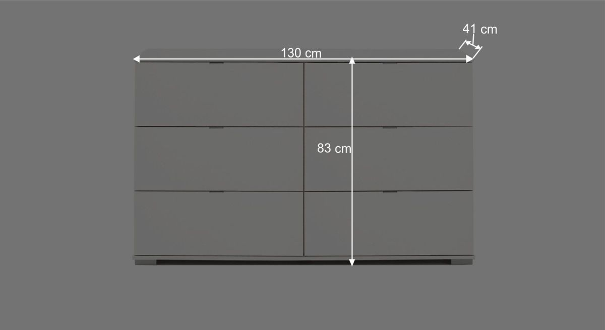 Maßgrafik zur Schubladen-Kommode Filetto