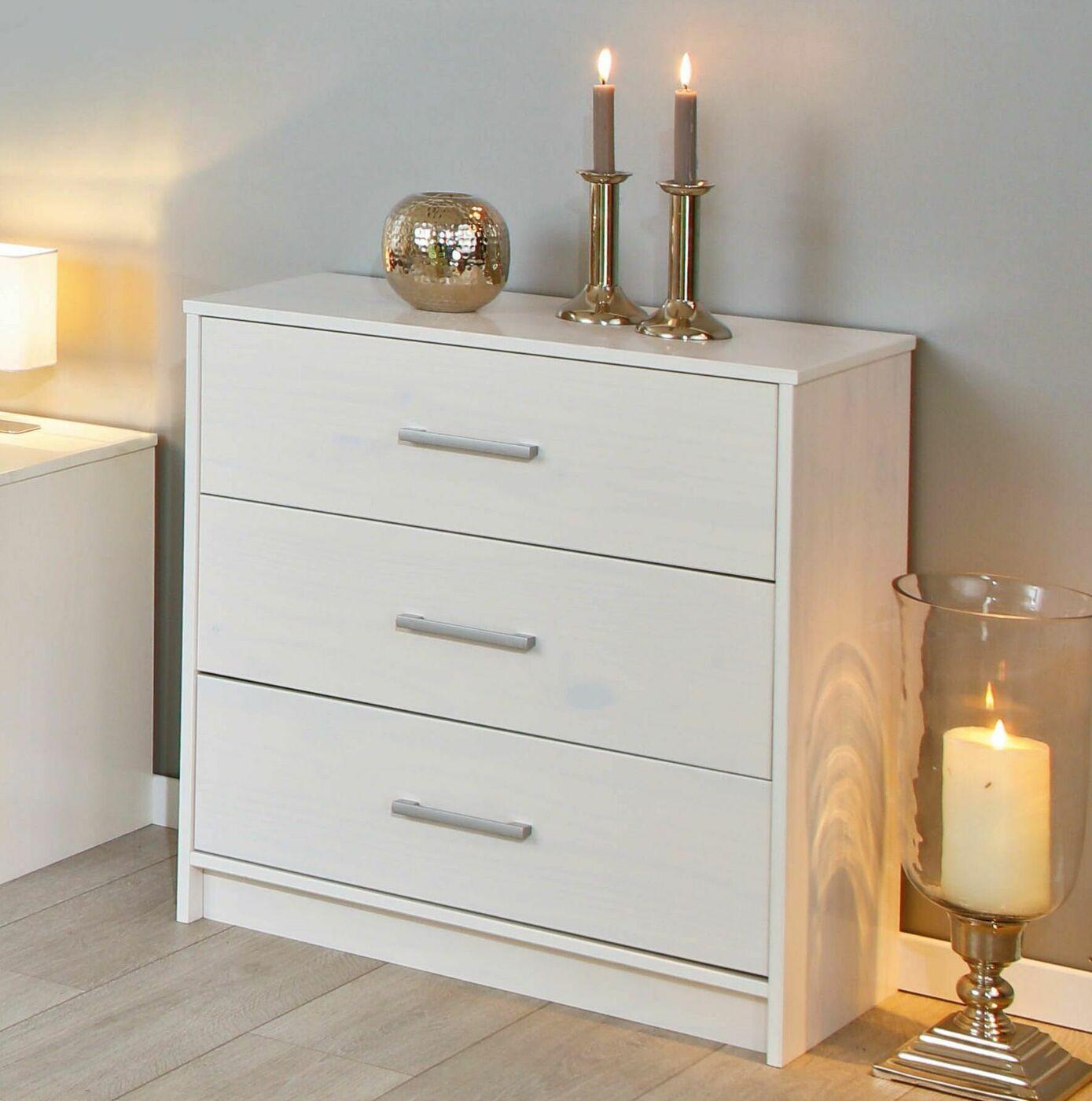 preiswerte schubladen kommode aus wei lackierter kiefer genf. Black Bedroom Furniture Sets. Home Design Ideas