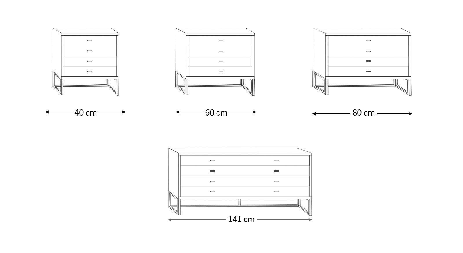 Grafik zu den Schubladen-Kommoden Elmira und Harrow