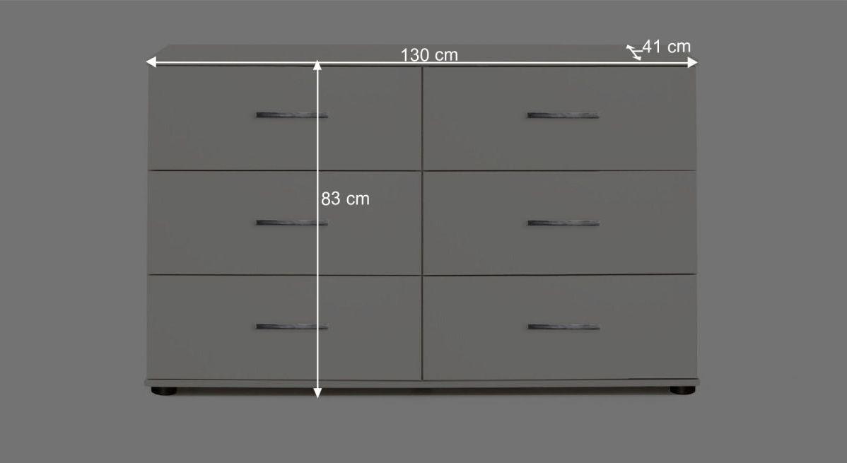 Bemaßungsgrafik zur Schubladen-Kommode Manati