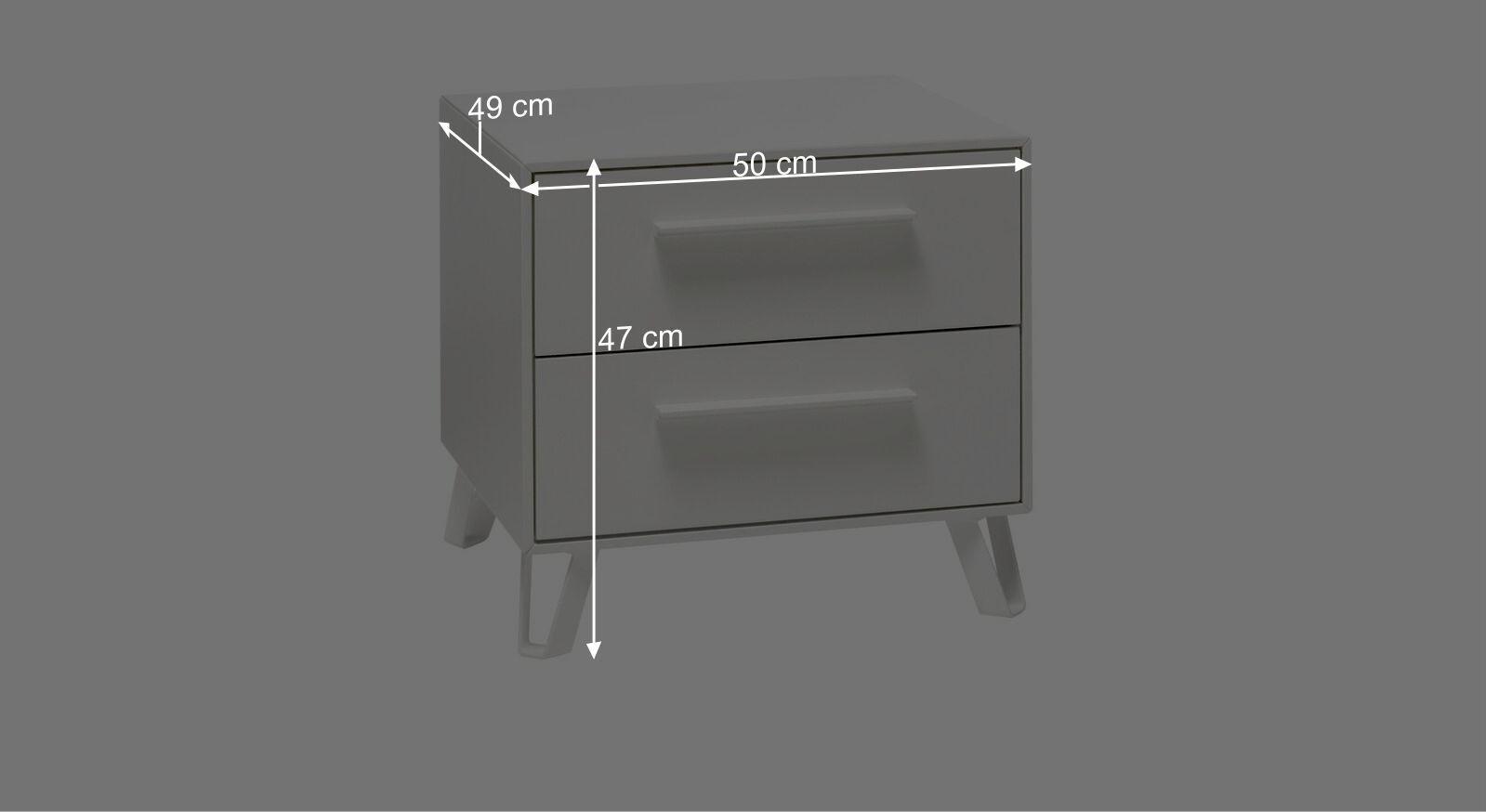 Bemaßungs-Grafik zum Schubladen-Nachttisch Cilona