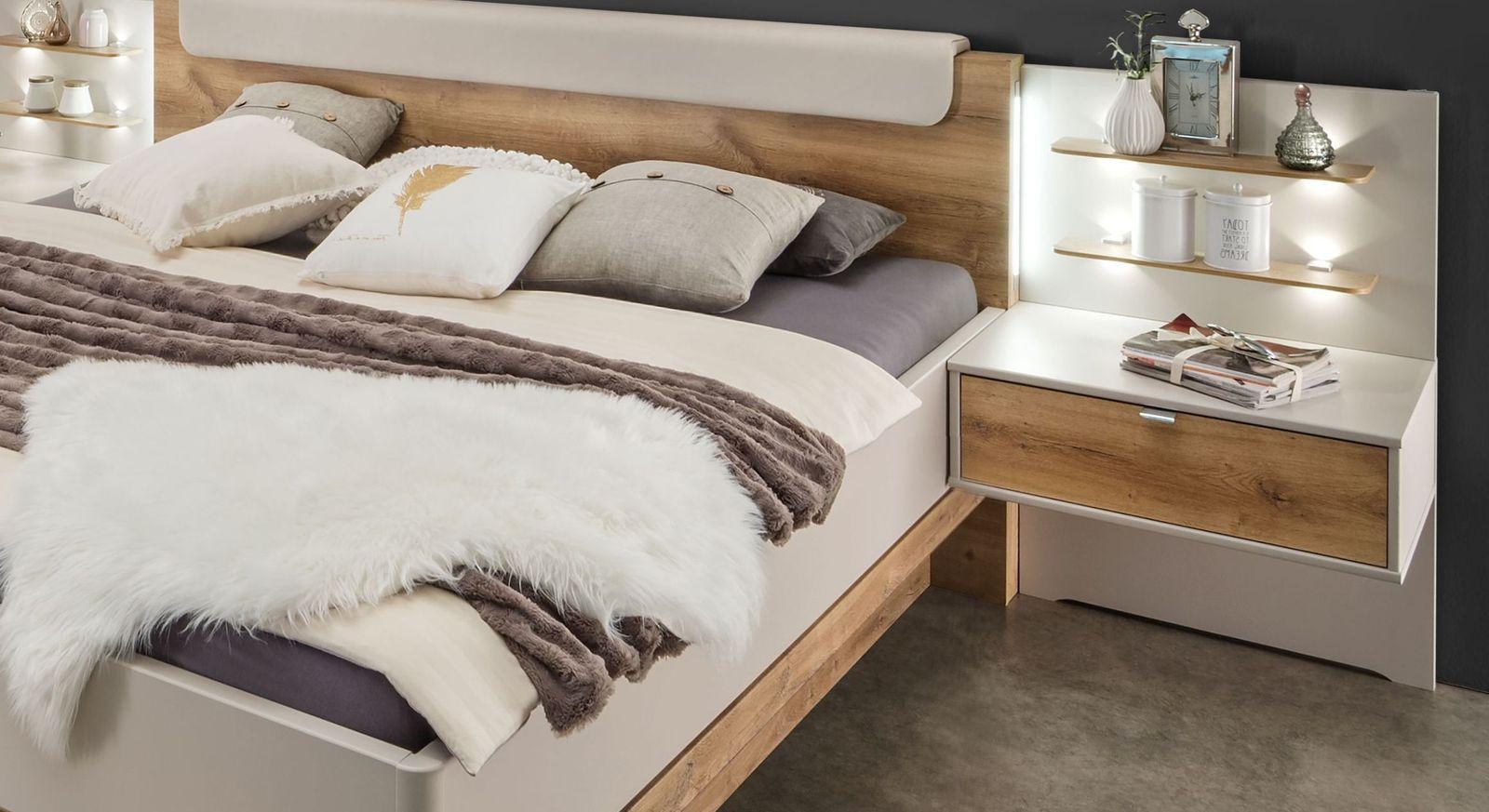 Schubladen-Nachttisch Seabrook mit stylischem Wandpaneel