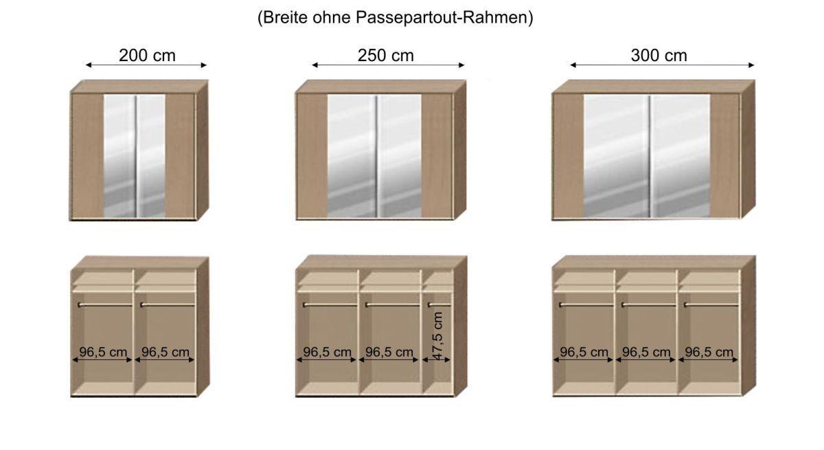 Grafik zur Inneneinteilung des Schwebetüren-Kleiderschranks Ageo