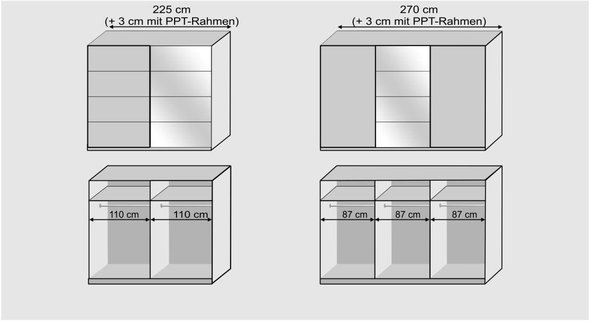 Grafik zu den Ausführungen des Schwebetüren-Kleiderschranks Arba
