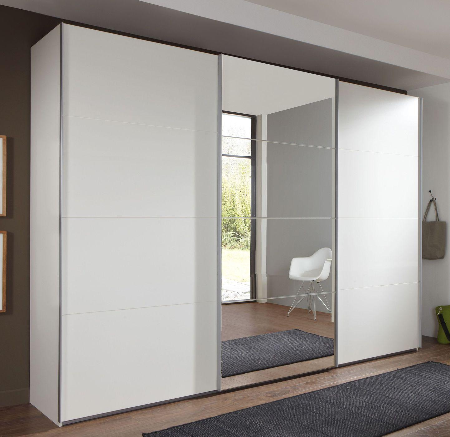ger umiger wei er schwebet renschrank mit spiegelfl chen. Black Bedroom Furniture Sets. Home Design Ideas