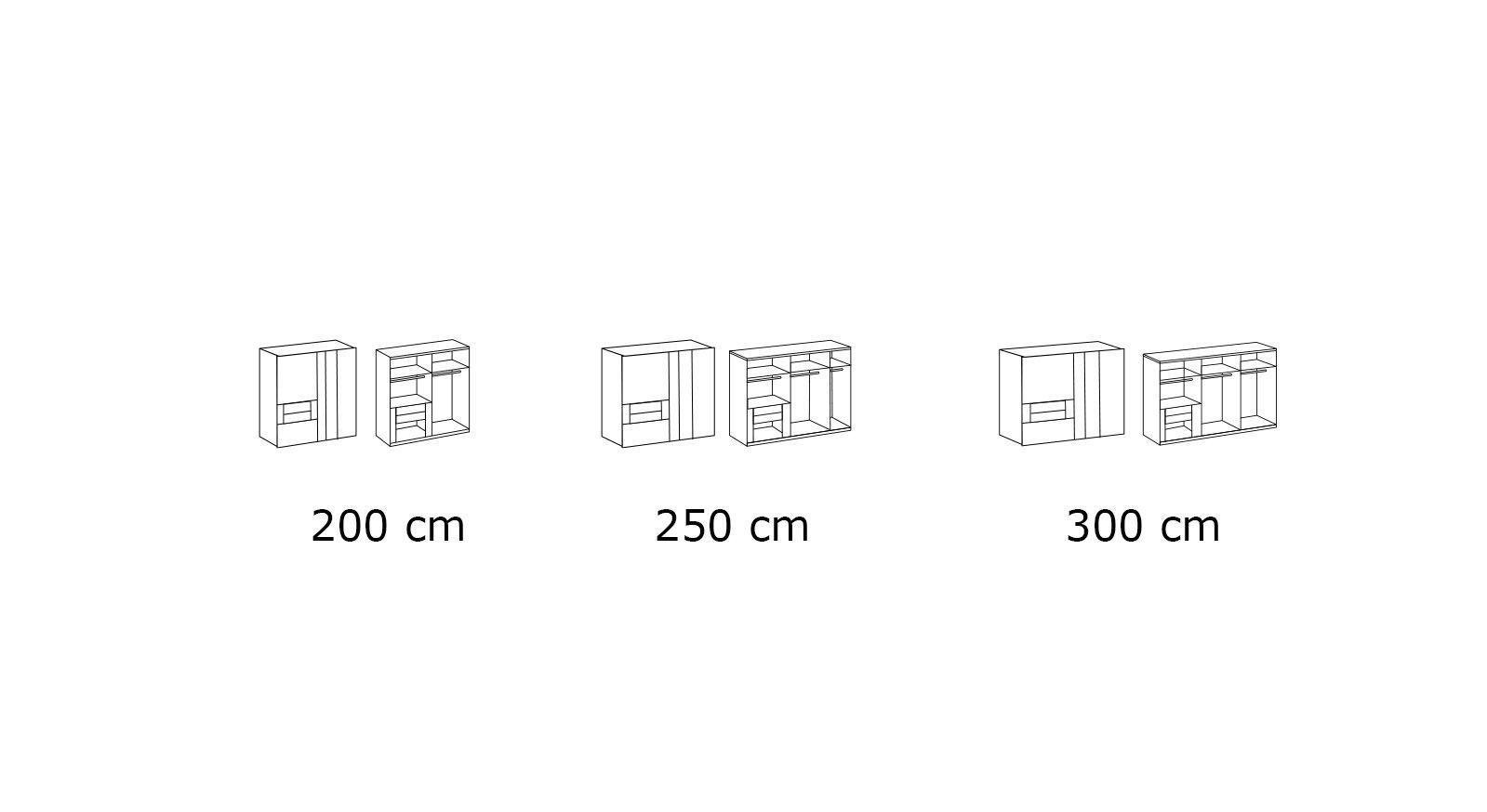 Grafik zur Inneneinteilung vom Schwebetüren-Kleiderschrank Bellegra