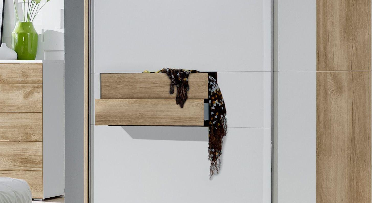 Schwebetüren-Kleiderschrank Bellegra mit zwei Schubladen