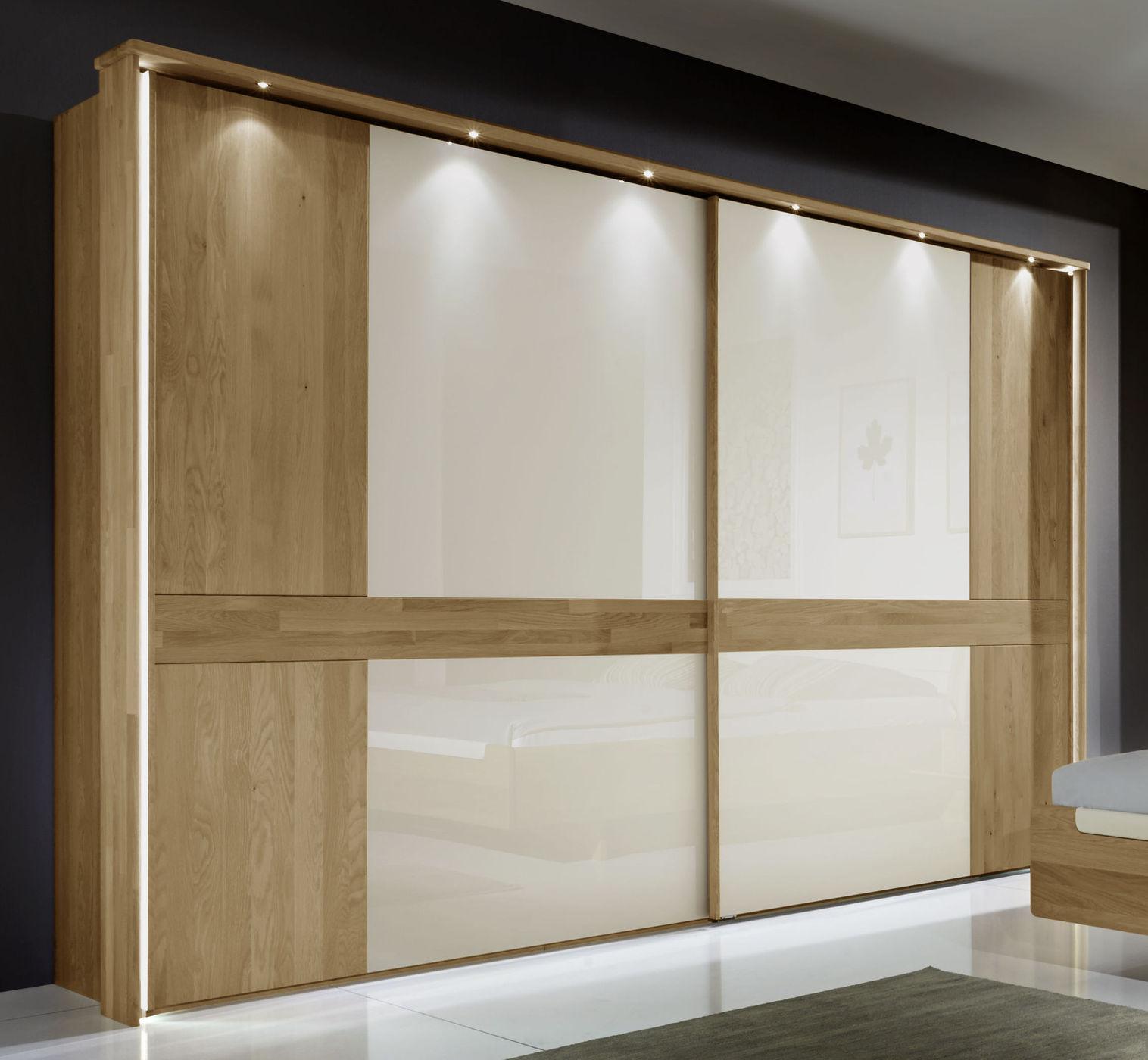 Schiebetüren-Kleiderschrank Eiche massiv mit Glasfläche - Bokaro