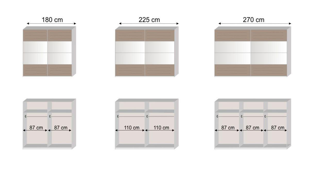 Grafik zur Innenausstattung des Schwebetüren-Kleiderschranks Boquila