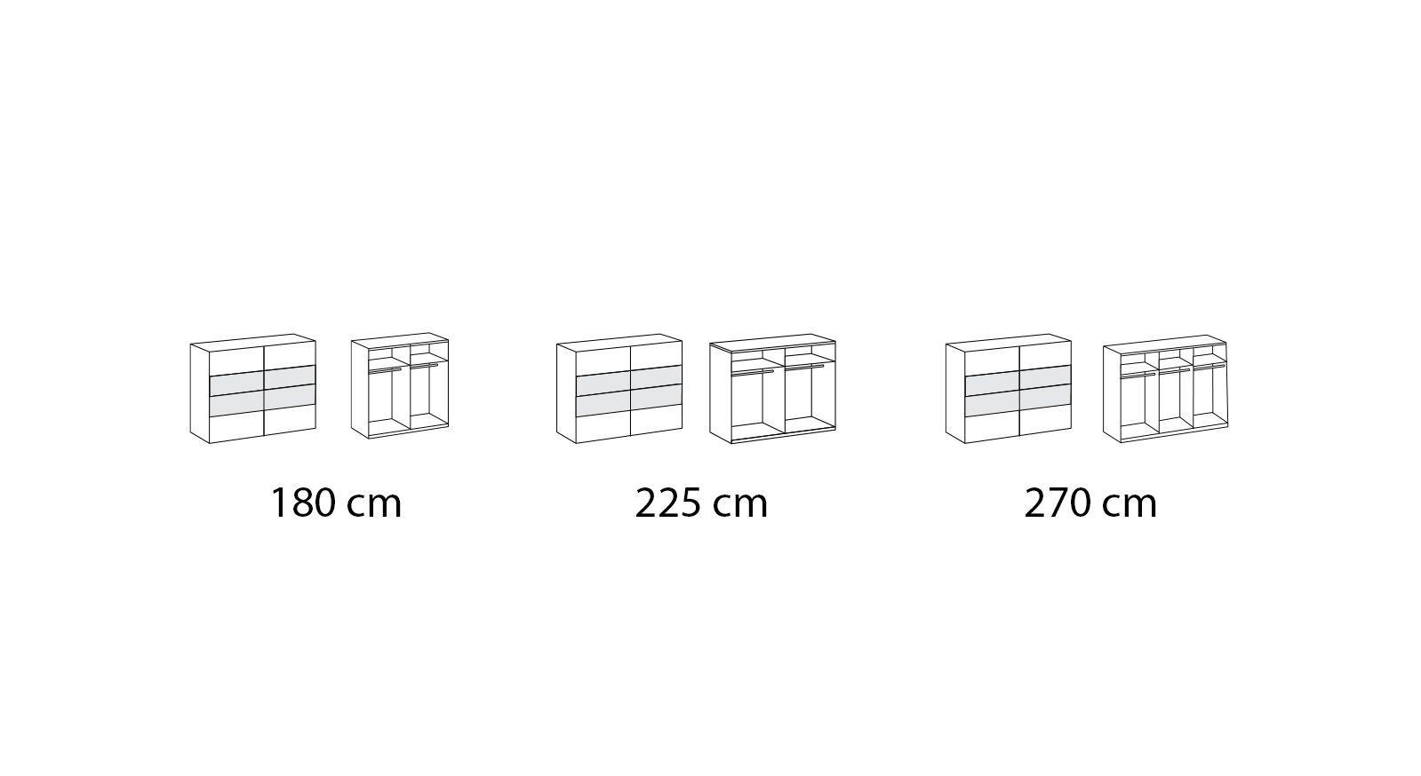 Grafik der Inneneinteilung des Schwebetüren-Kleiderschranks Boquila