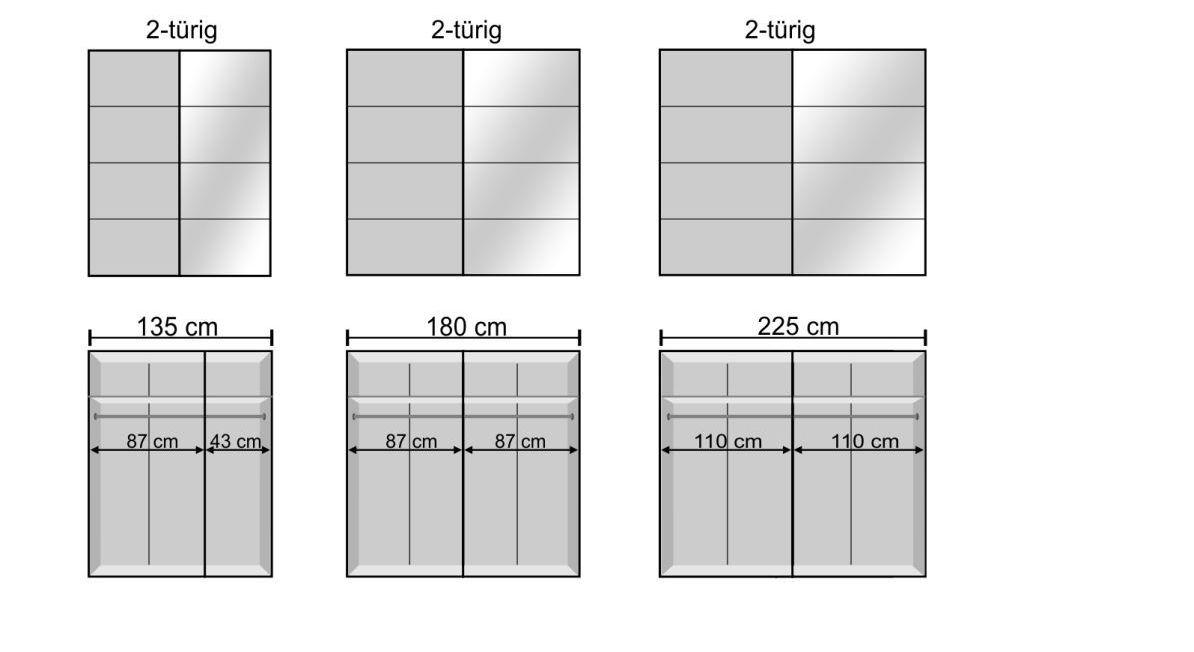 Breiten-Verhältnisse des Schwebetüren-Kleiderschranks