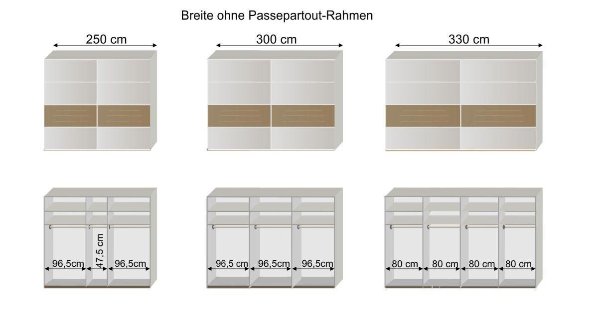Grafik zur Inneneinteilung des Schwebetüren-Kleiderschranks Briston
