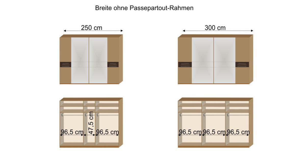 Grafik der Inneneinteilung des Schwebetüren-Kleiderschranks Burbia