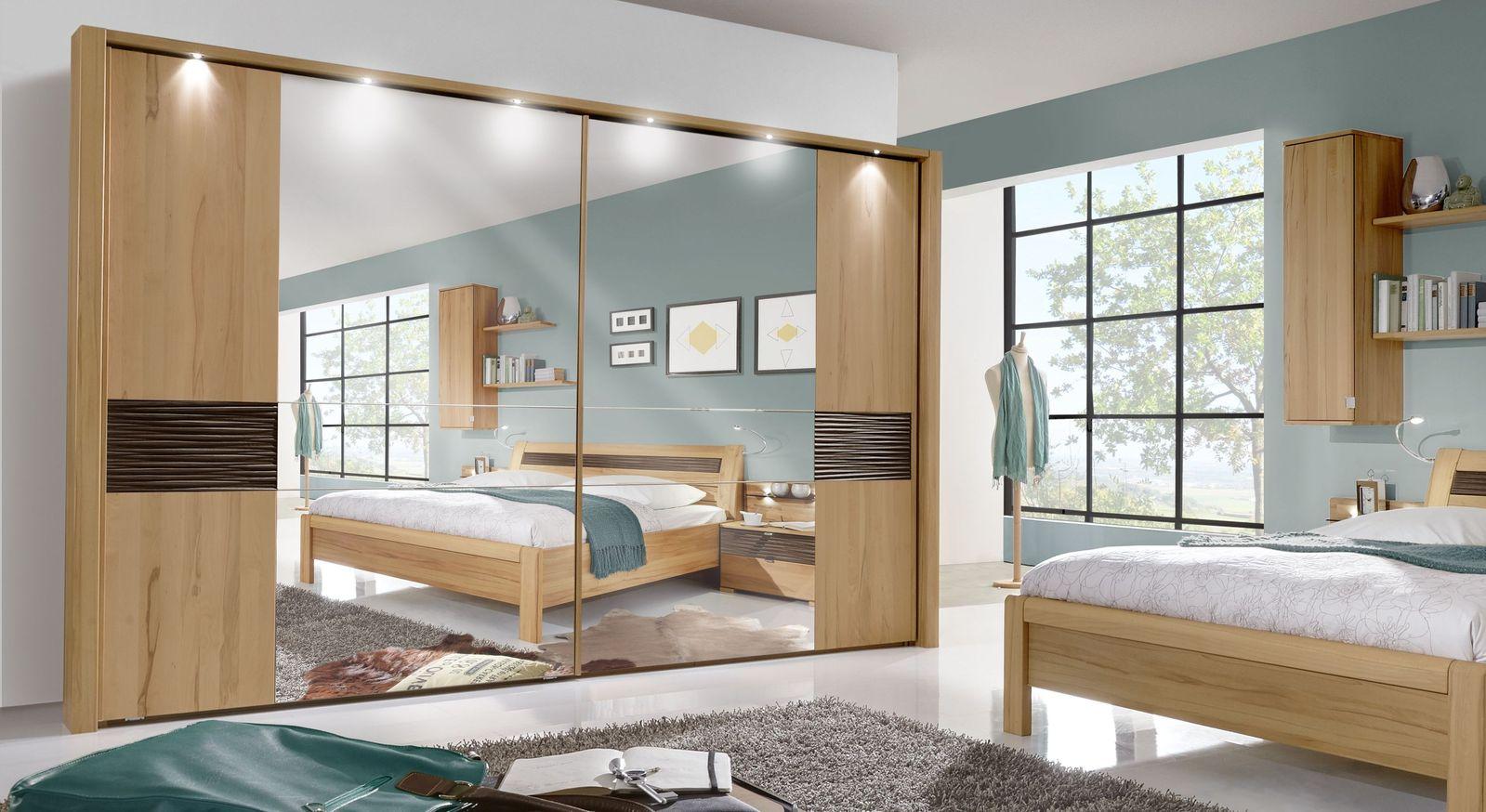 Schwebetüren-Kleiderschrank Burbia mit eleganter Spiegelfront