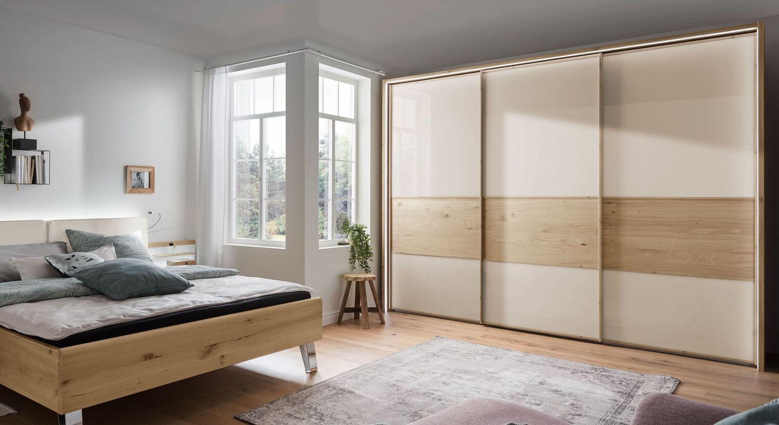 Schwebetüren-Kleiderschrank Corato mit moderner Beleuchtung