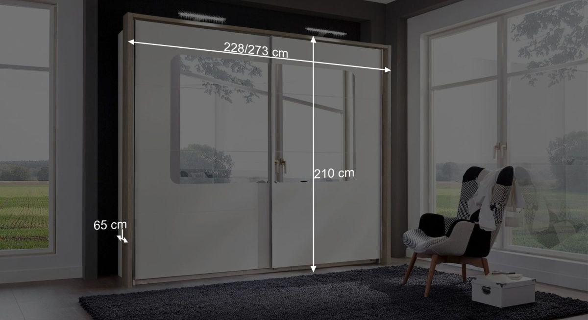 Bemaßungsgrafik zum Schwebetüren-Kleiderschrank Corvara mit Passepartout-Rahmen
