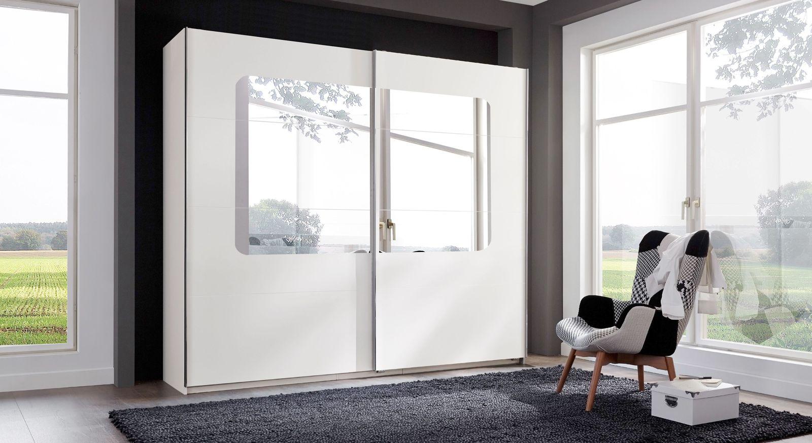 Schwebetüren-Kleiderschrank in Weiß mit großem Spiegel - Corvara