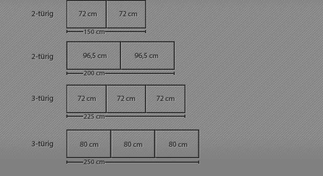 Breitenansicht vom 2-3-Türigen Schwebetüren-Kleiderschrank Dilly