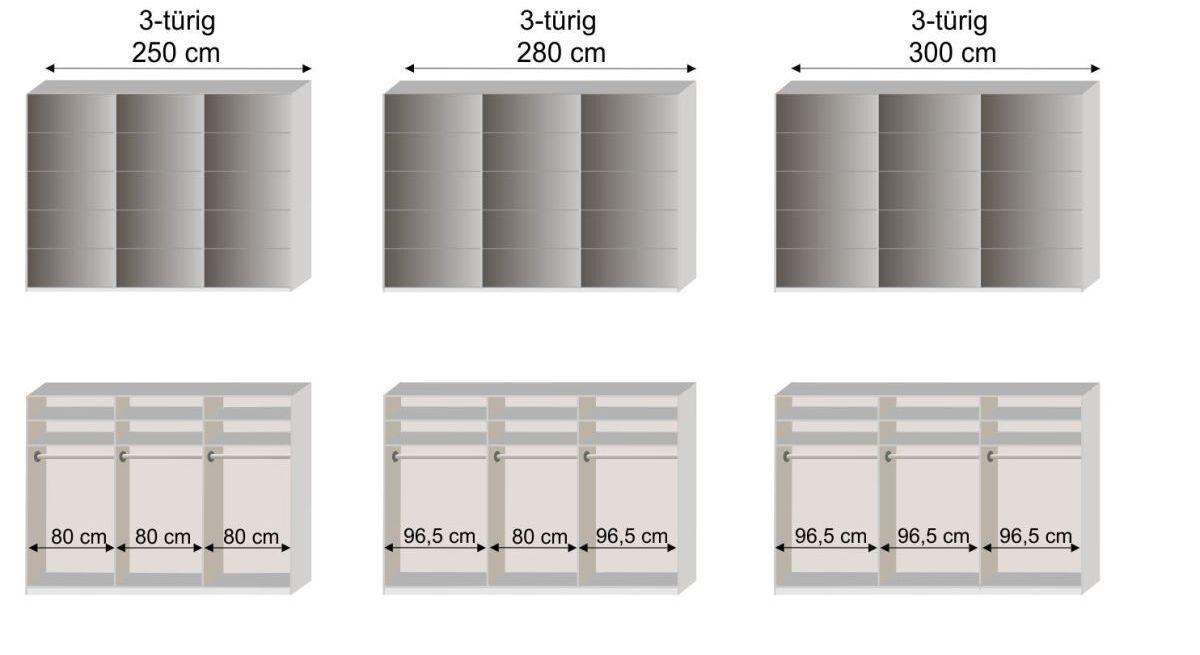 Grafik zur Aufteilung vom Schwebetüren-Kleiderschrank Dilly