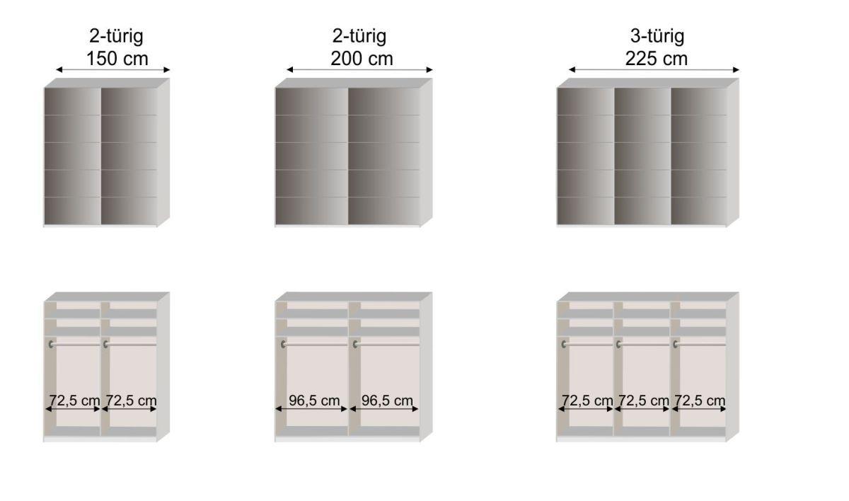 Grafik zur Inneneinteilung vom Schwebetüren-Kleiderschrank Dilly