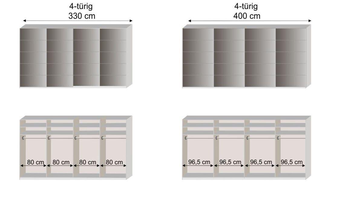 Maßskizze zum Schwebetüren-Kleiderschrank Dilly