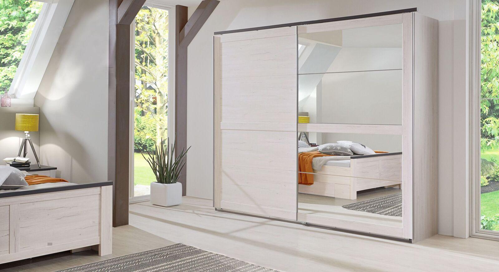 Schwebetüren-Kleiderschrank Grom mit großer Spiegeltür
