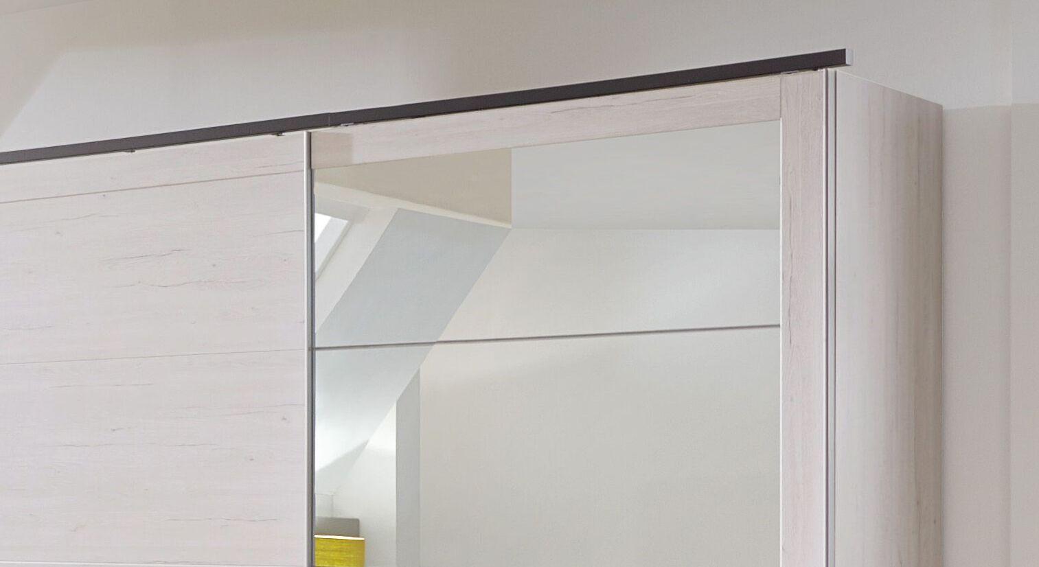 Schwebetüren-Kleiderschrank Grom mit Kranzleiste in Anthrazit
