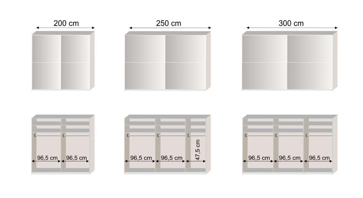 Grafik zur Inneneinteilung vom Schwebetüren-Kleiderschrank Huddersfield