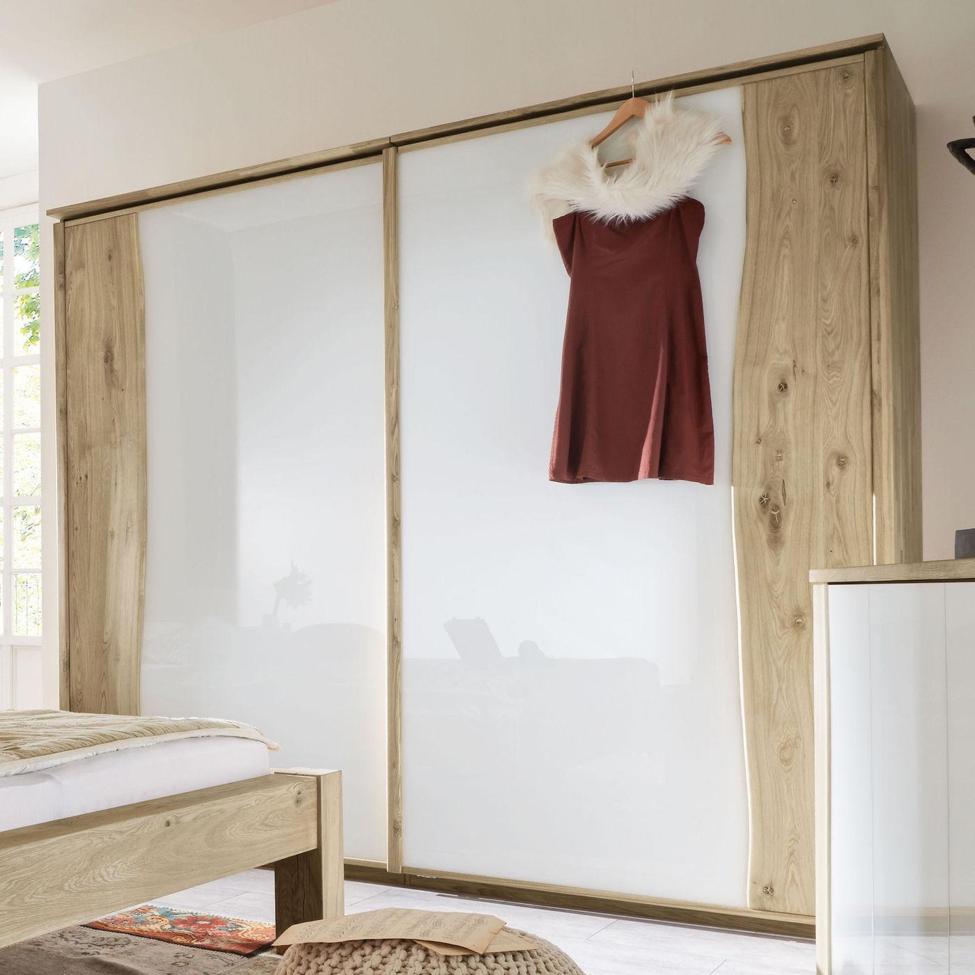 schwebet ren kleiderschrank wildeiche ge lt mit glasfront imst. Black Bedroom Furniture Sets. Home Design Ideas