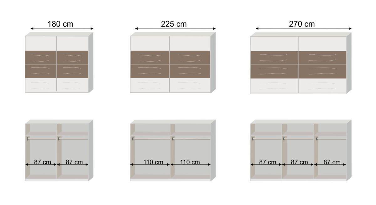 Maßgrafik vom Schwebetüren-Kleiderschrank Kenva zur Inneneinteilung