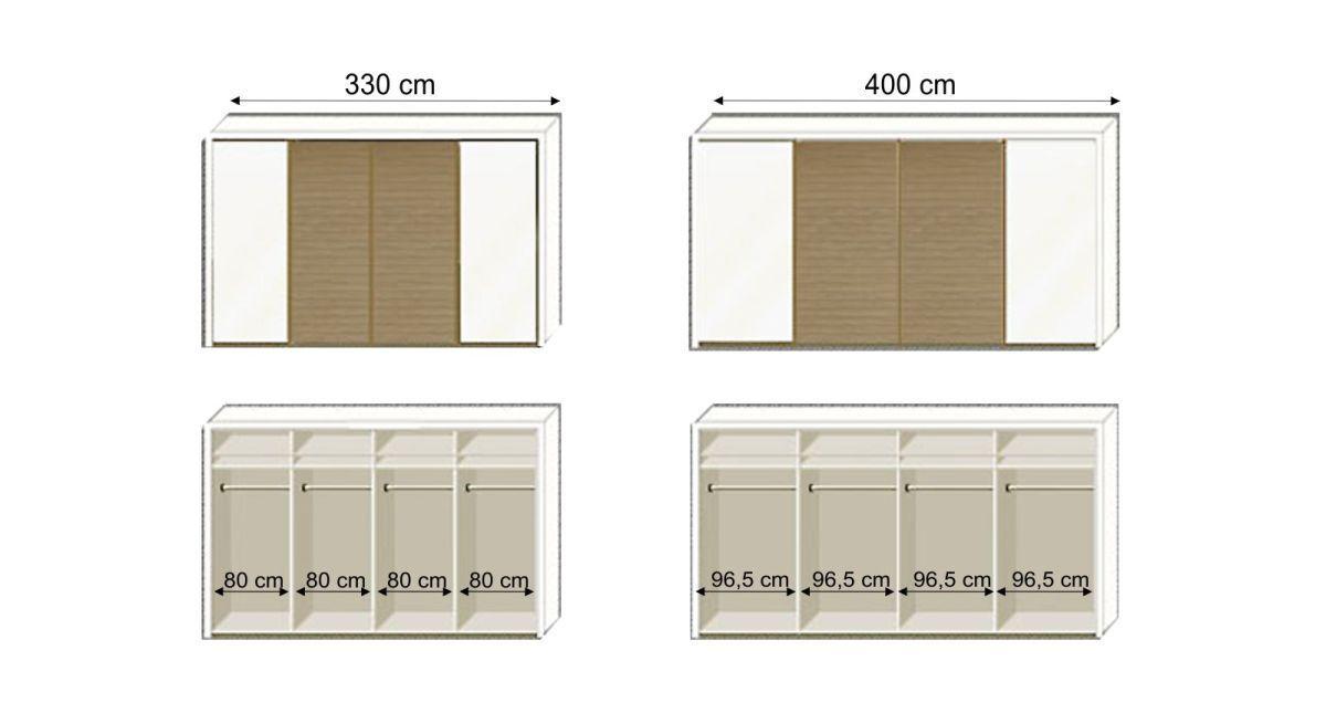 Grafik zur Innenaufteilung des Schwebetüren-Kleiderschranks Koga