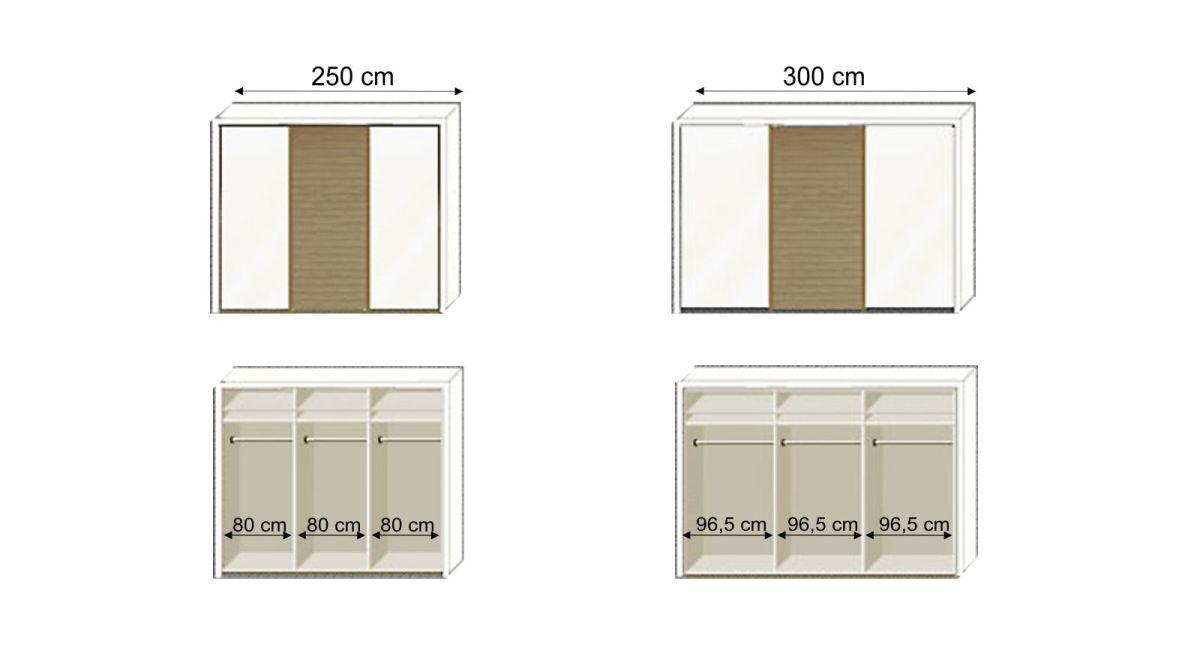 Grafik zur Inneneinteilung des Schwebetüren-Kleiderschranks Koga