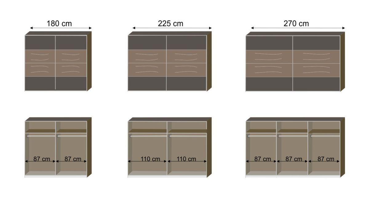 Schwebetüren-Kleiderschrank Lika mit Maßgrafik zur Inneneinteilung