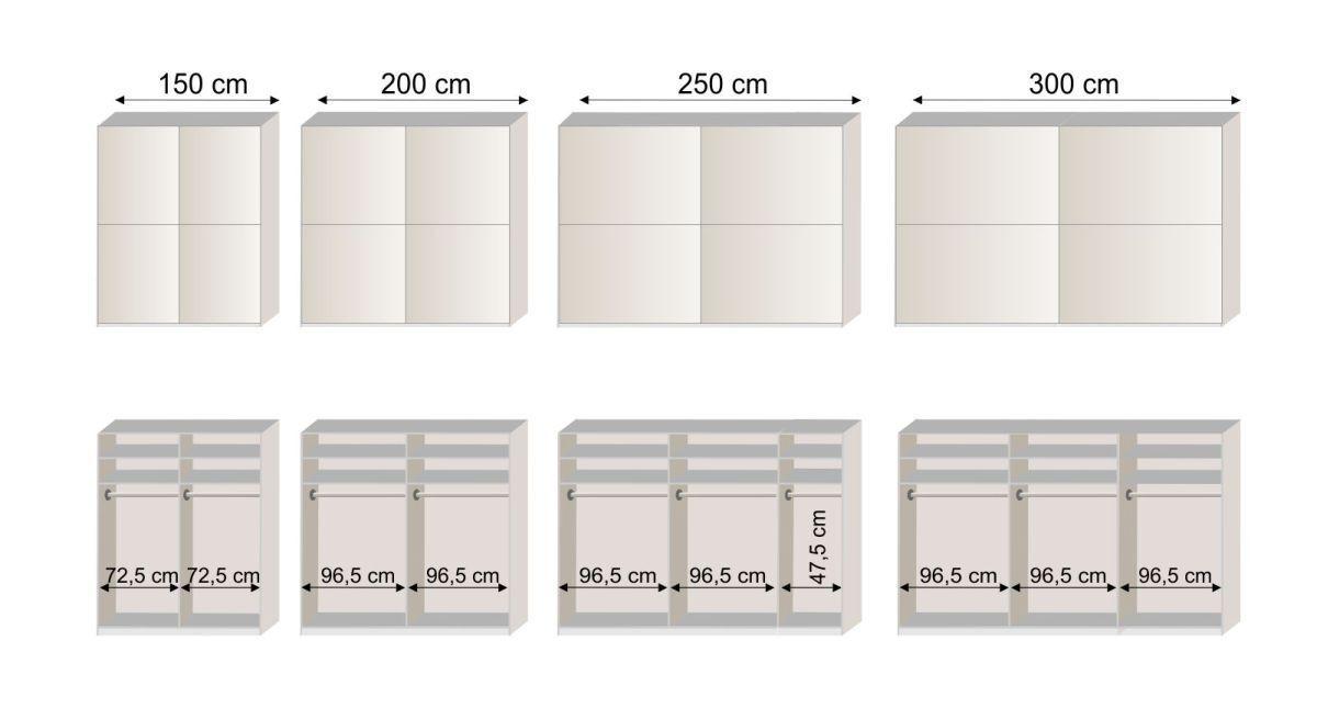 Grafik zur Innenausstattung des Schwebetüren-Kleiderschranks Livingston
