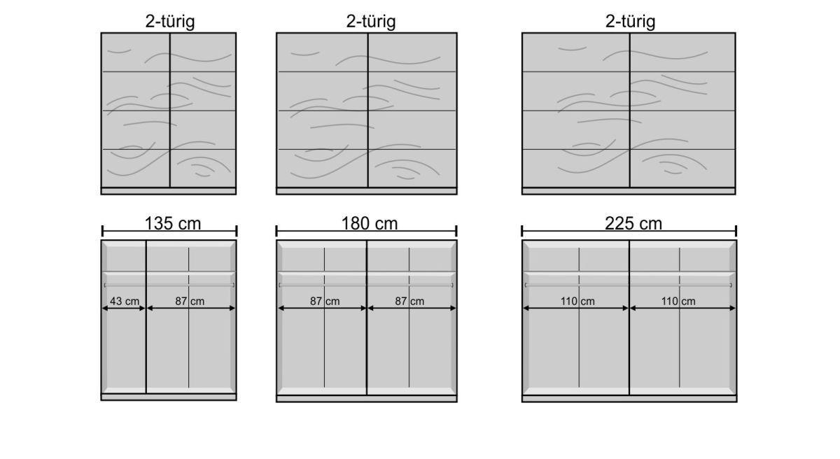 Schwebetüren-Kleiderschrank Loanos Grafik zur Inneneinteilung