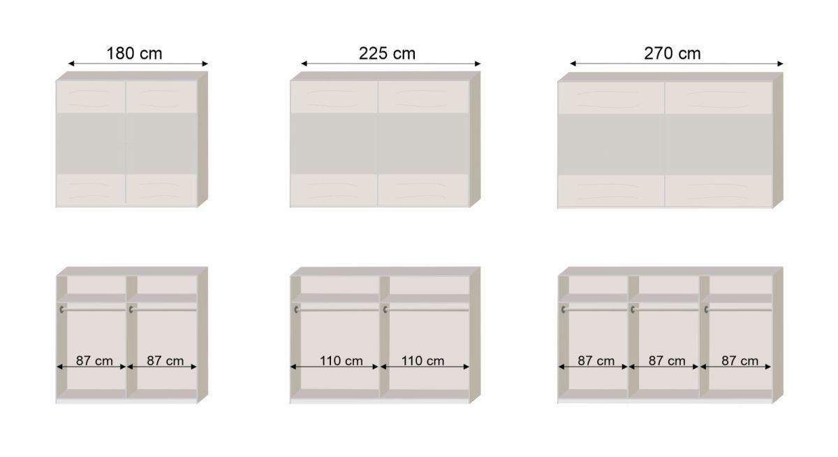 Bemaßungsgrafik zum Schwebetüren Kleiderschrank Malwa Innenaufteilung