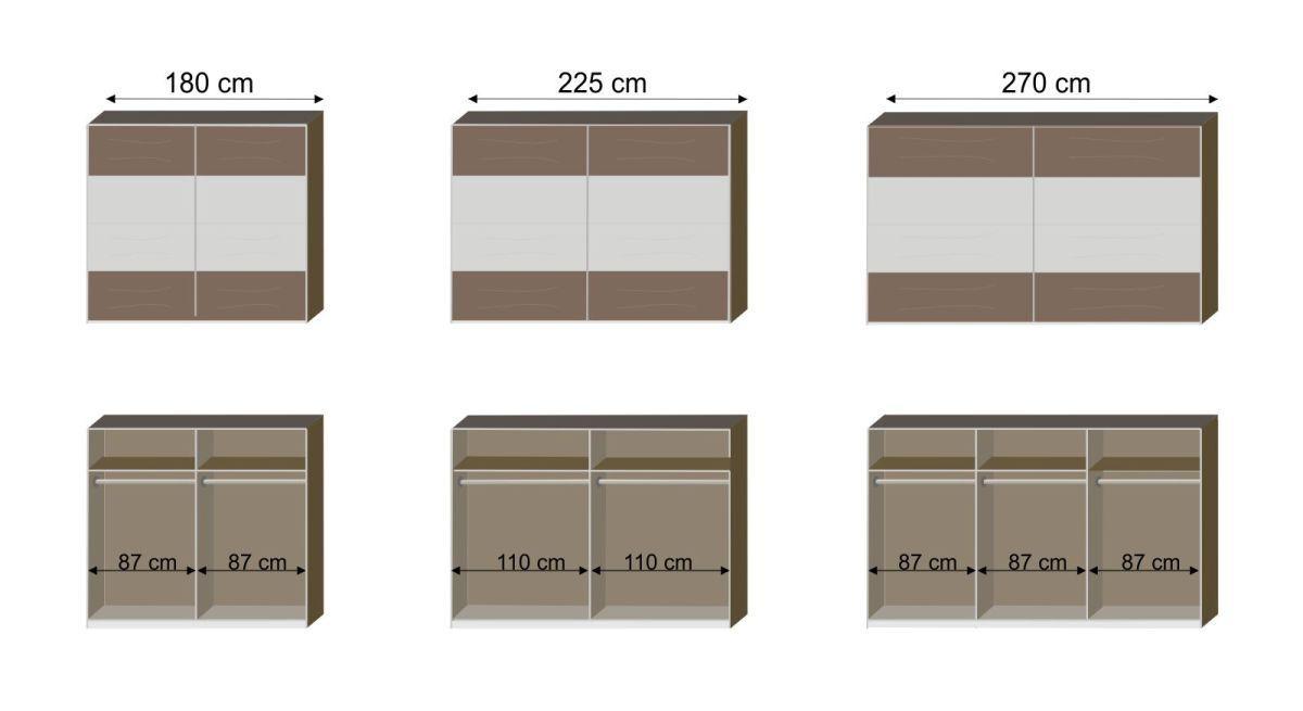 Bemaßungs-Grafik zum Schwebetüren-Kleiderschrank Mandola