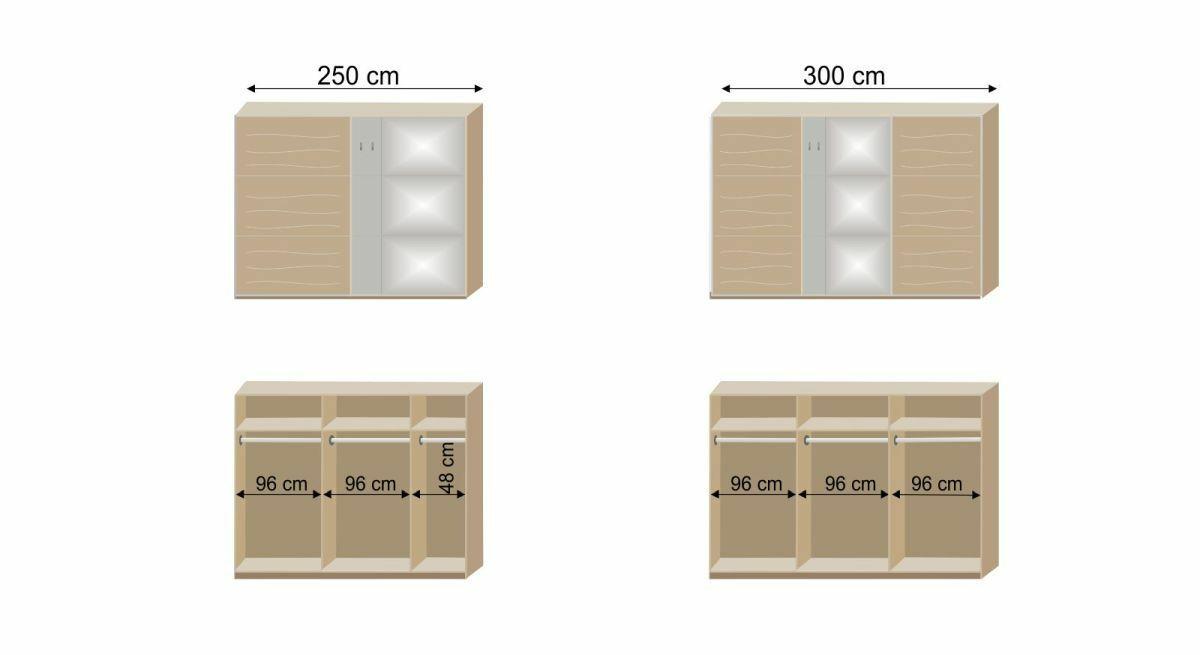 Grafik zur Innenausstattung des Schwebetüren-Kleiderschranks Naila