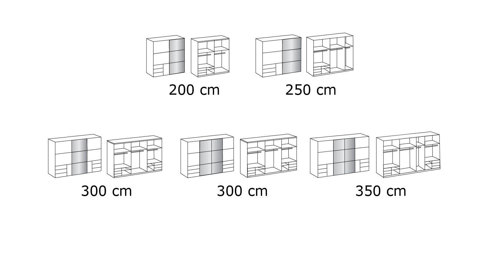 Grafik zum Schwebetüren-Kleiderschrank Neto in der Höhe 216 cm