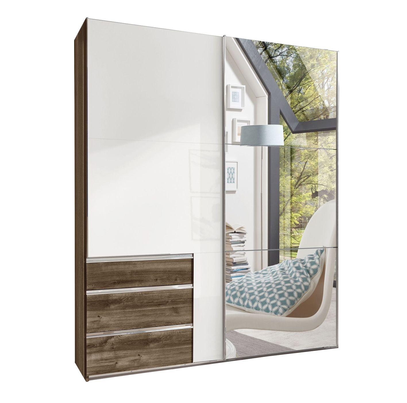 Spiegel-Kleiderschrank mit Hochglanz-Türen und Schubladen - Neto