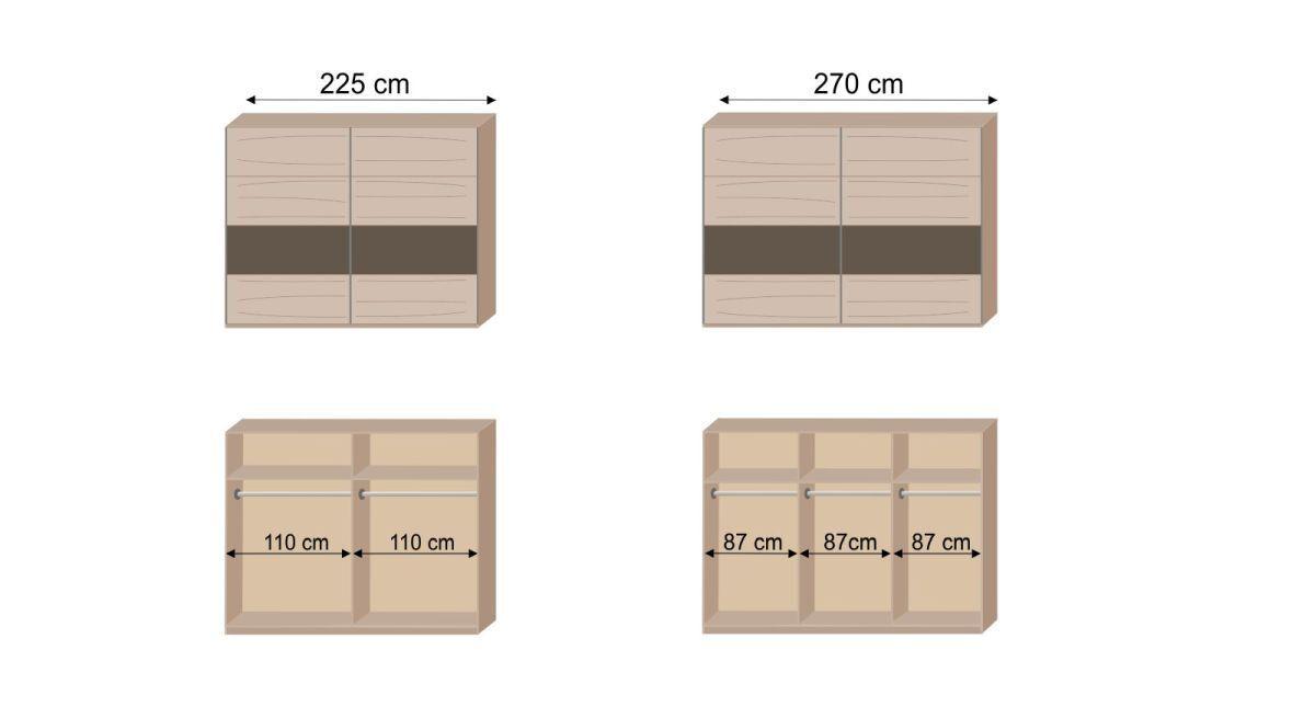 Grafik zur Inneneinteilung des Schwebetüren-Kleiderschranks Pahoa
