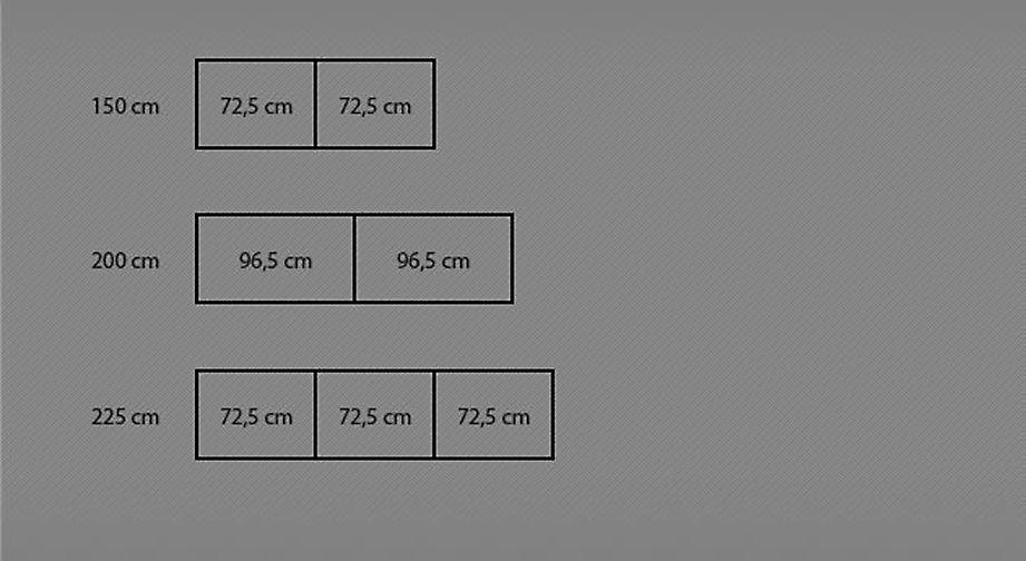 Grafik zur 150 - 225 cm Breitenansicht des Schwebetüren-Kleiderschranks Palmira