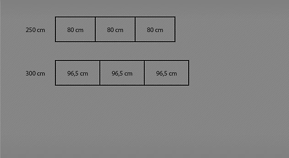Grafik zur Breitenansicht des Schwebetüren-Kleiderschranks Palmira