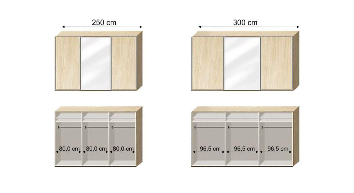 Grafik der Inneneinteilung zum Schwebetüren-Kleiderschrank Palmira