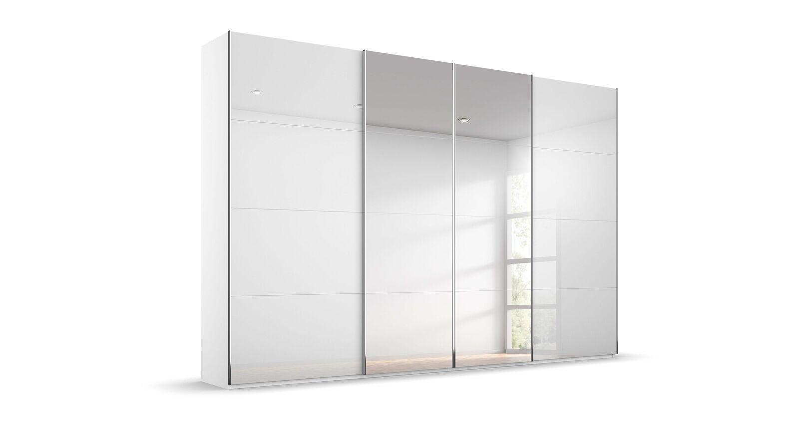 Schwebetüren-Kleiderschrank Pamina mit Spiegel und weißem Korpus