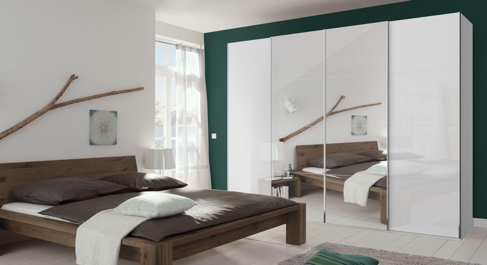 Moderner Schwebetüren-Kleiderschrank Pamina mit Spiegel in Weiß