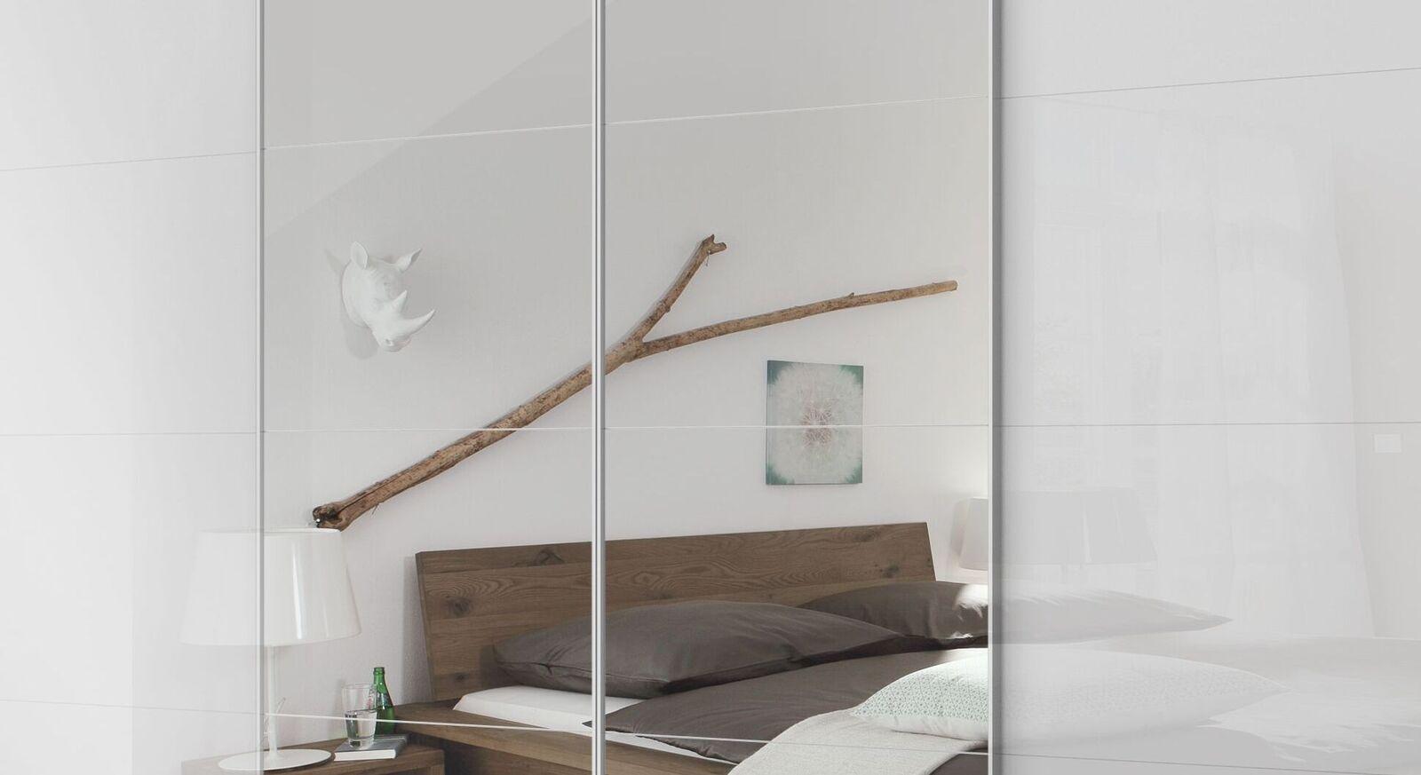 Schwebetüren-Kleiderschrank Pamina mit Spiegel und Zierleisten