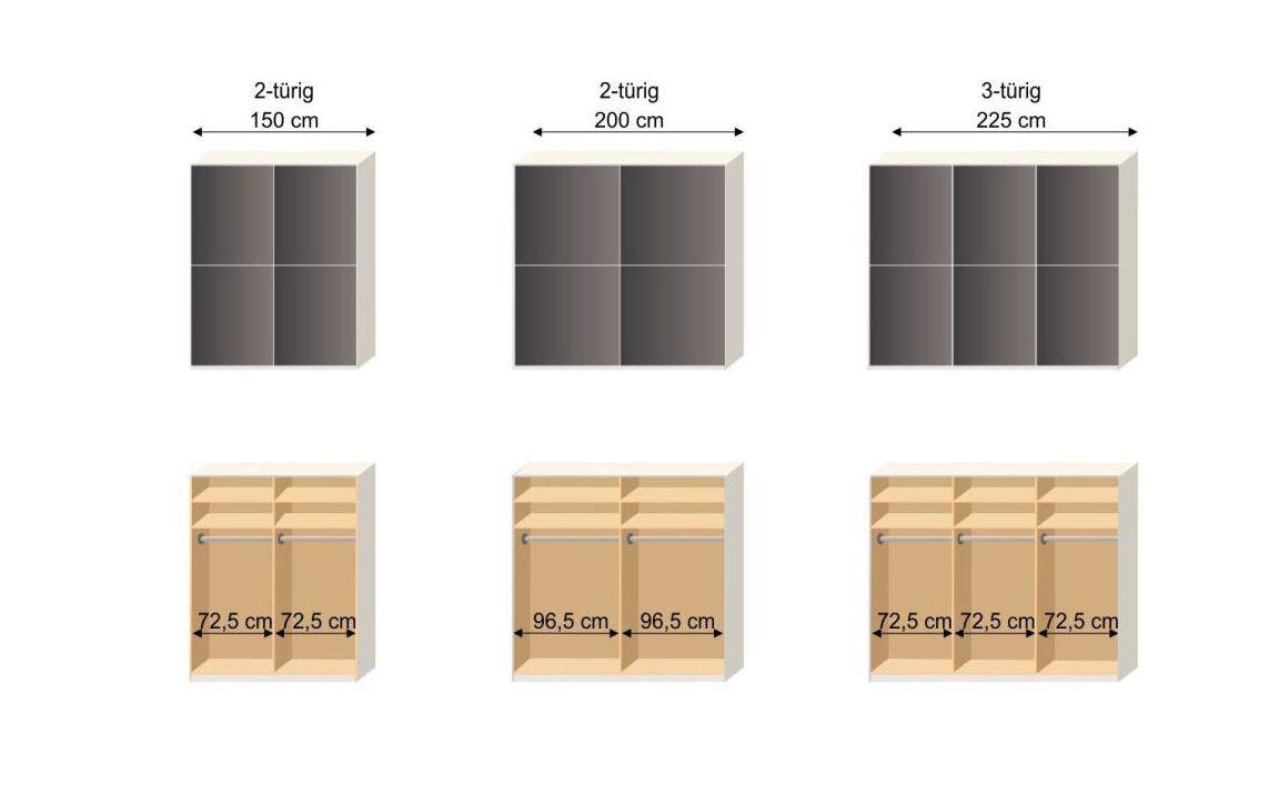 Grafik zur Inneneinteilung des Schwebetüren-Kleiderschranks Perry
